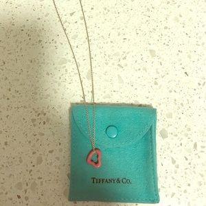 Tiffany Open Heart Pendant of Pink Rhodonite